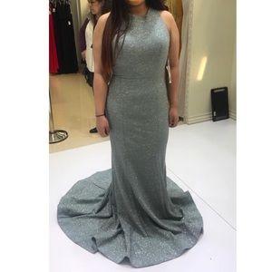 Jovani Cross Back Glitter Jersey Prom Dress